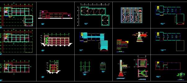 تصویر پروژه طراحی فنی مدرسه شامل پلان ، نما، برش ، جزئیات ، بام ، نعل درگاهی و سقف کاذب